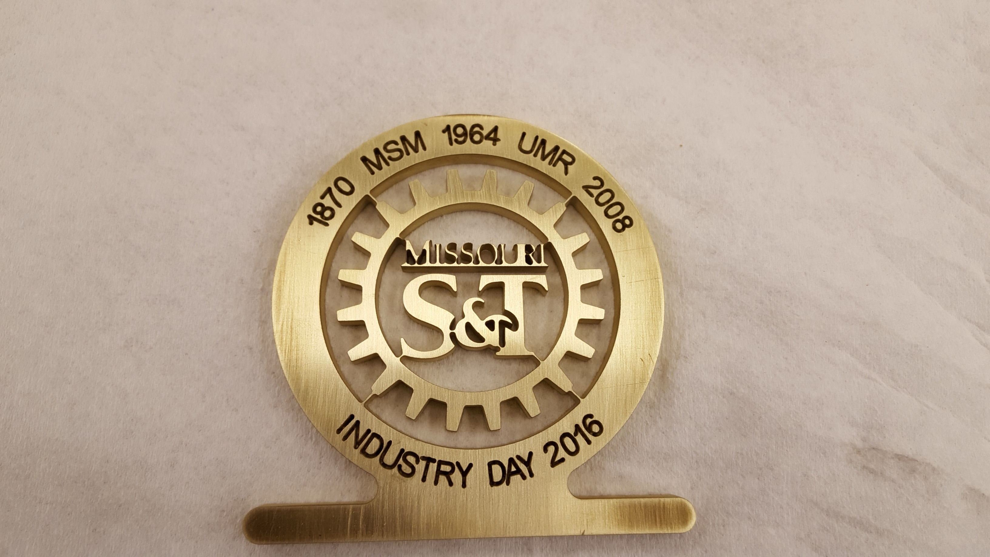 Industry Day Medallion- finished product from waterjet