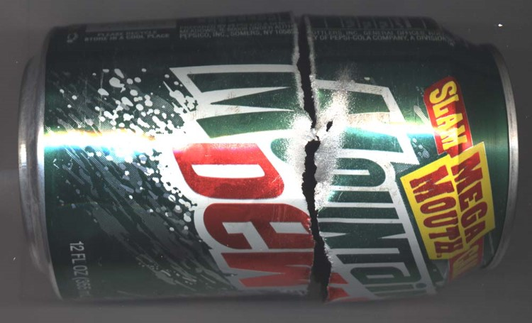 Mountain Dew Can cut with waterjet without